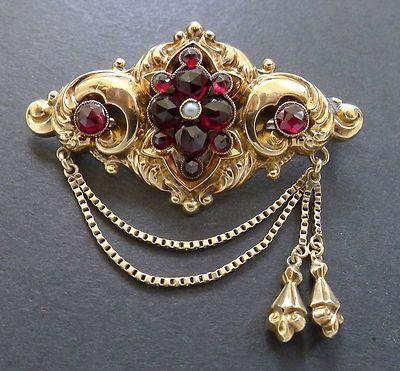 Vintage Georgian 14K Gold Rose Garnet Pearl Tassel Brooch Pin