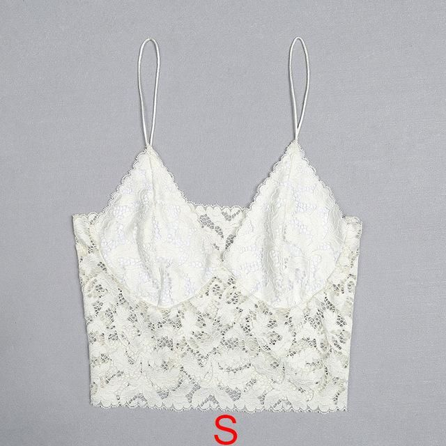 40b399fce2bf0 Ellolace White Lace Bralette Bras Vest Sexy Intimates for Women Deep V-Neck  Crop Tops Fashion Tops Solid Camis Sleeping Vest