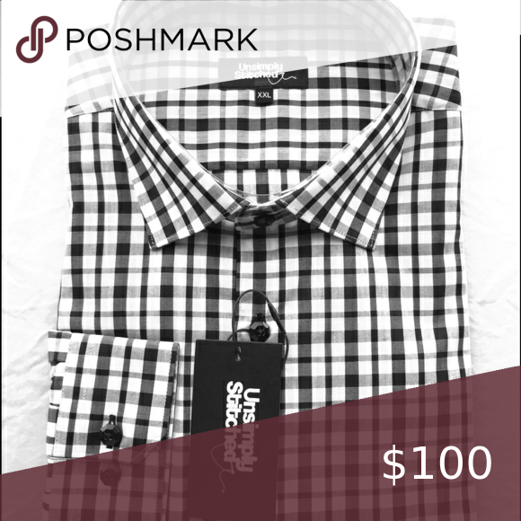 Black And White Checkered Males's Costume Shirt
