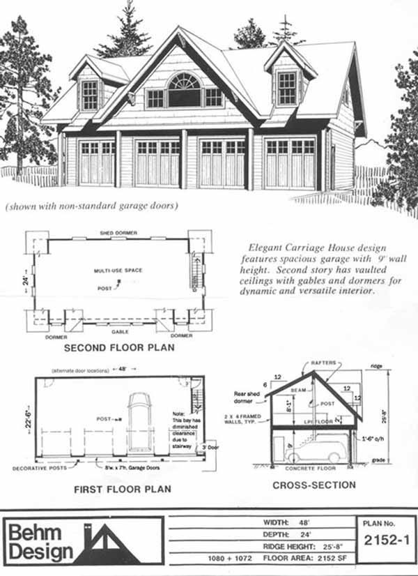 4 Car Carriage House Garage Plan 2152 1 By Behm Design 48 X 24 Carriage House Plans Garage House Plans Large Garage Plans