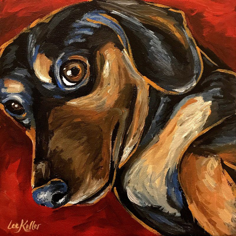 'Dachshund Game Day' Acrylic Painting Print on Wrapped Canvas