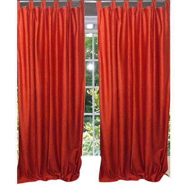 Bohemian Spanish Orange Tab Top Sari Curtain Drape Panel Pair Window