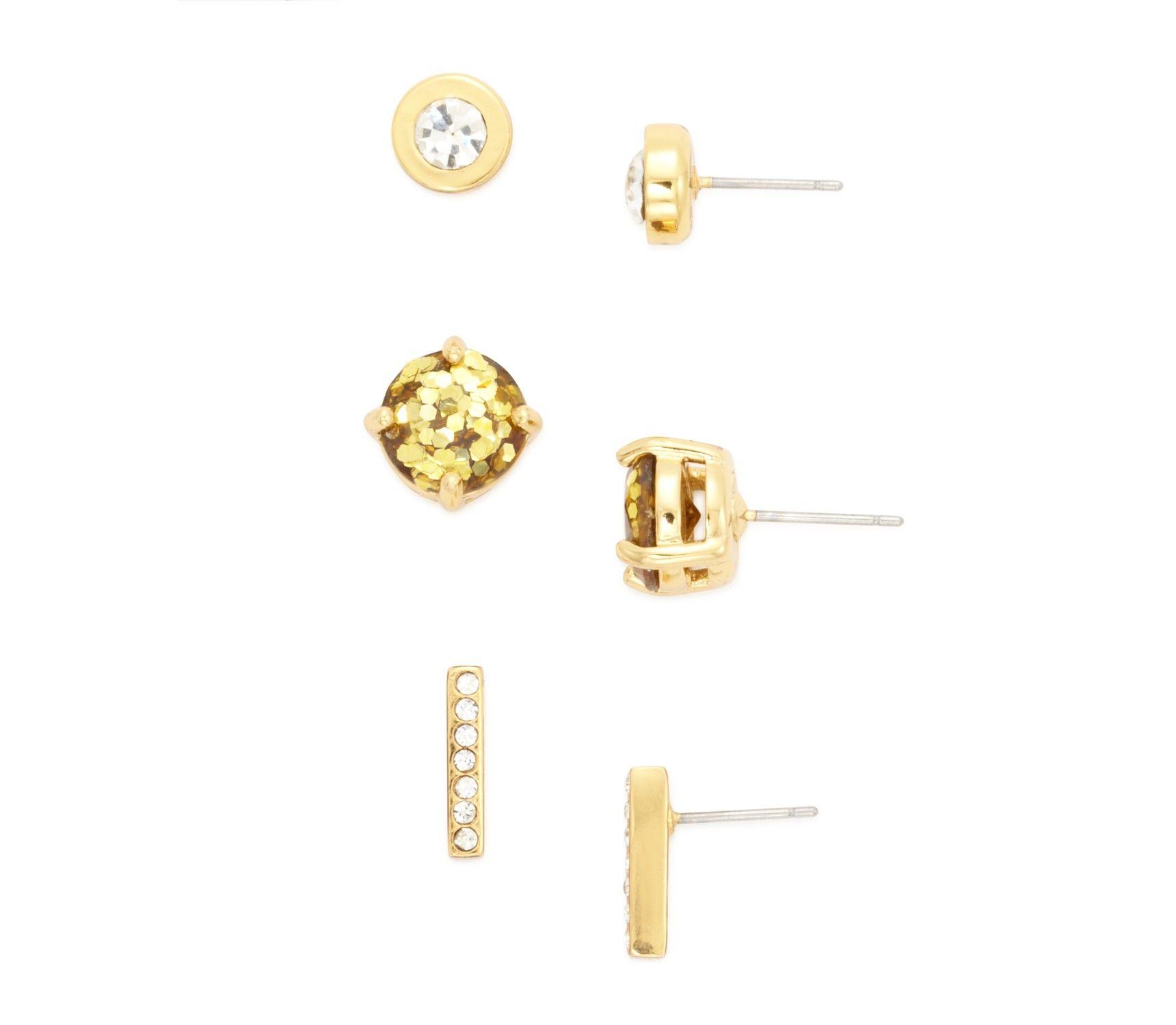 kate spade new york Glitter Stud Earrings, Set of 3 Pairs | Bloomingdale's