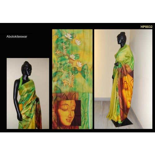 a48db27c2b Bankura (bishonpur) Silk Hand Painted Saree with Painting of lord Buddha  MADE on ORDER. 4 WEEKS DELIVERY TIME pd0032 - Online Shopping for Silk  Sarees by ...
