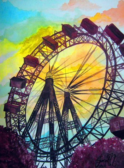 Sarah Nikolai  ||  Ferris Wheel watercolor painting