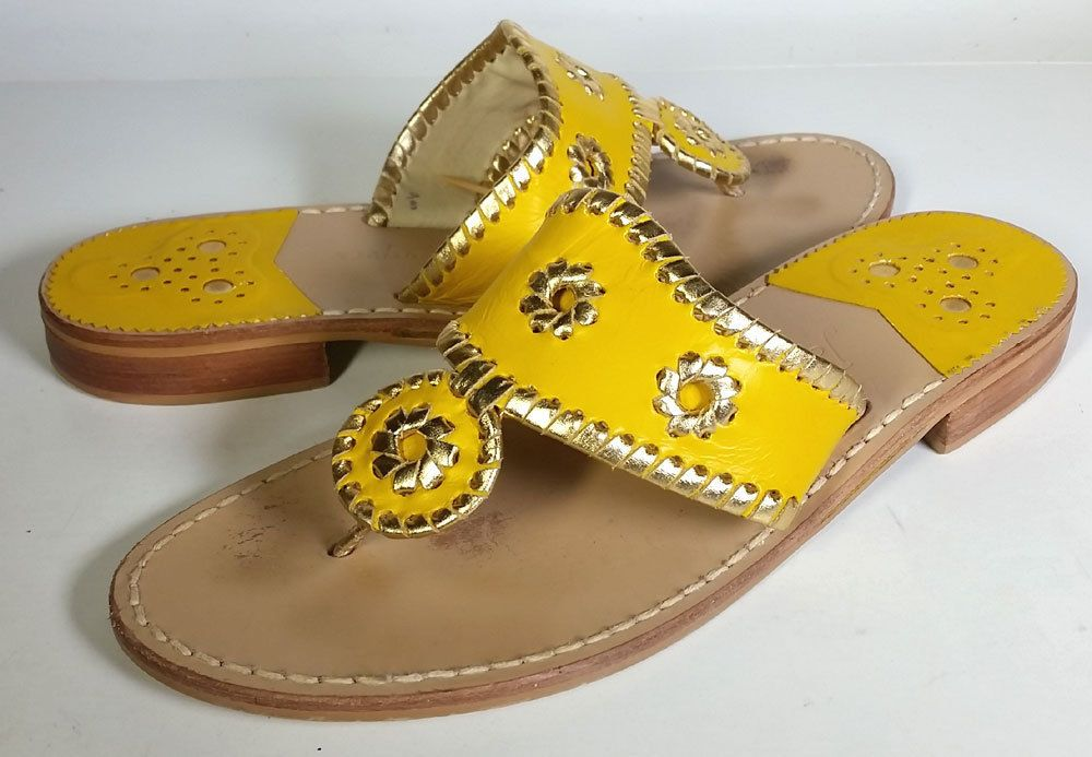 ca871cb01837  100 Jack Rogers 9 Hollis Leather Thong Sandals in Lemon Chiffon Gold   PRIMO  9  JackRogers  FlipFlops