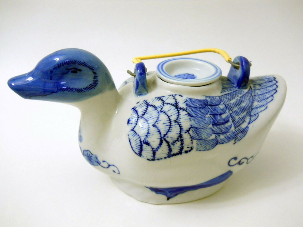 Blue White Ceramic Duck Tea Pot Hand Painted Reed Metal Handle