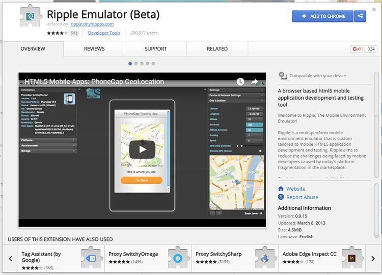 Ripple Emulator run PhoneGap apps in Chrome. How crazy is