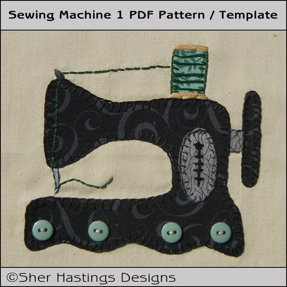 Sewing Machine 1 Applique Template PDF by SherHastingsDesigns, $2.00 ...