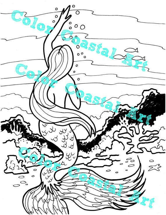 Mermaid Coloring Page Adult Printable Pages Instant Download