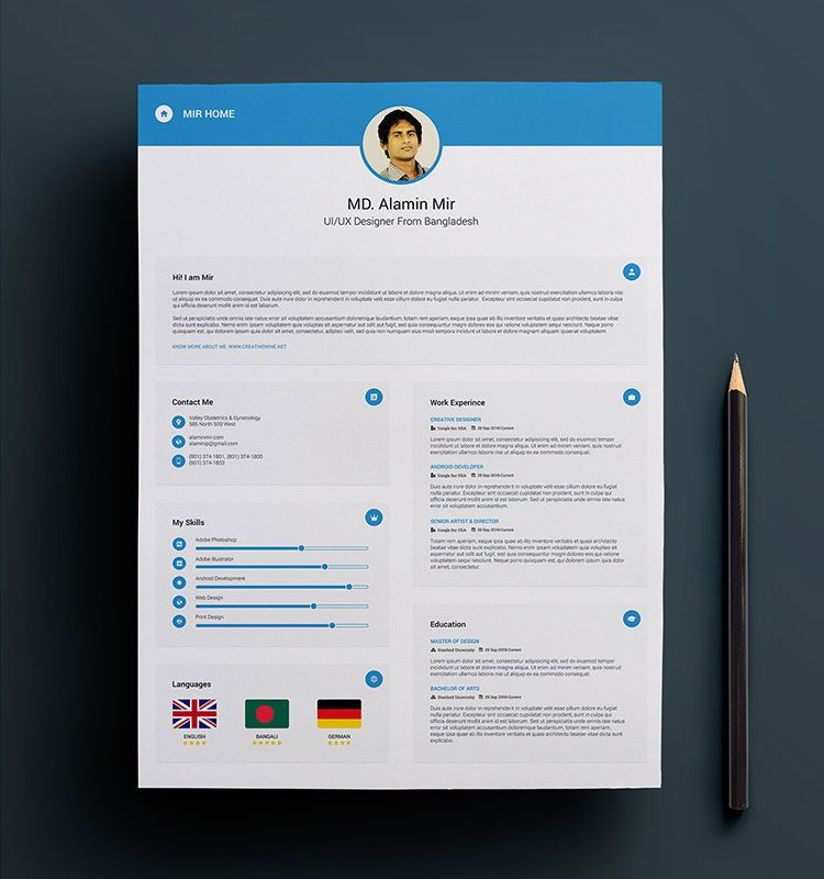 FreeResumeTemplateDesignPsd  Resume Psd    Simple