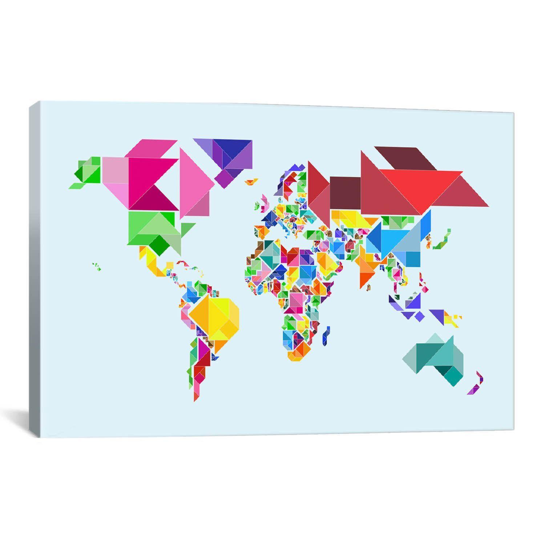 Icanvas michael thompsett tangram abstract world map canvas print icanvas michael thompsett tangram abstract world map canvas print wall art gumiabroncs Gallery