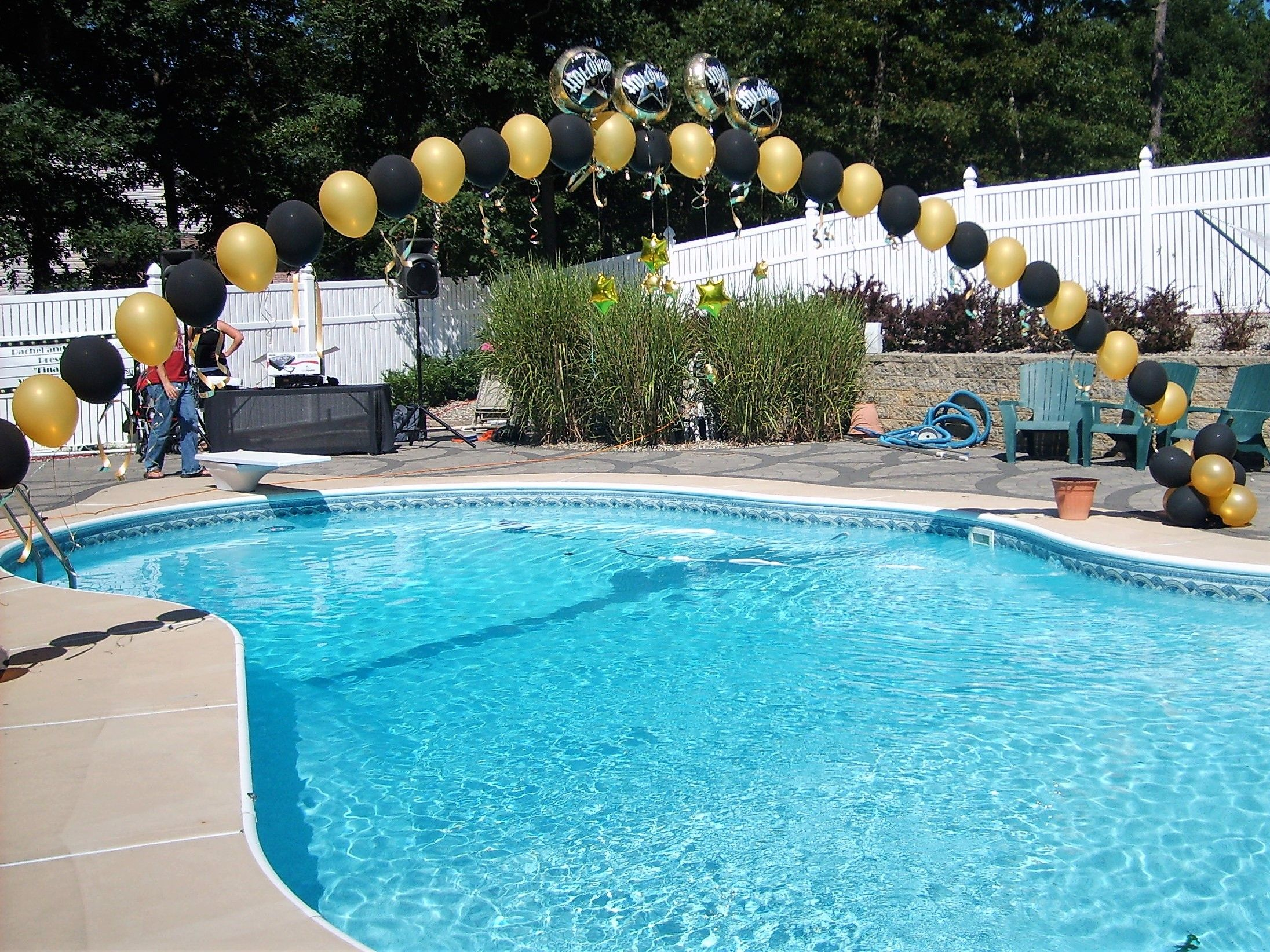 Summer Fun With Balloon Arches Over The Pool Single Pearl Balloon Arch Gold And Black Color Scheme Party Balloon Arch Pearl Balloons Pool Party Decorations