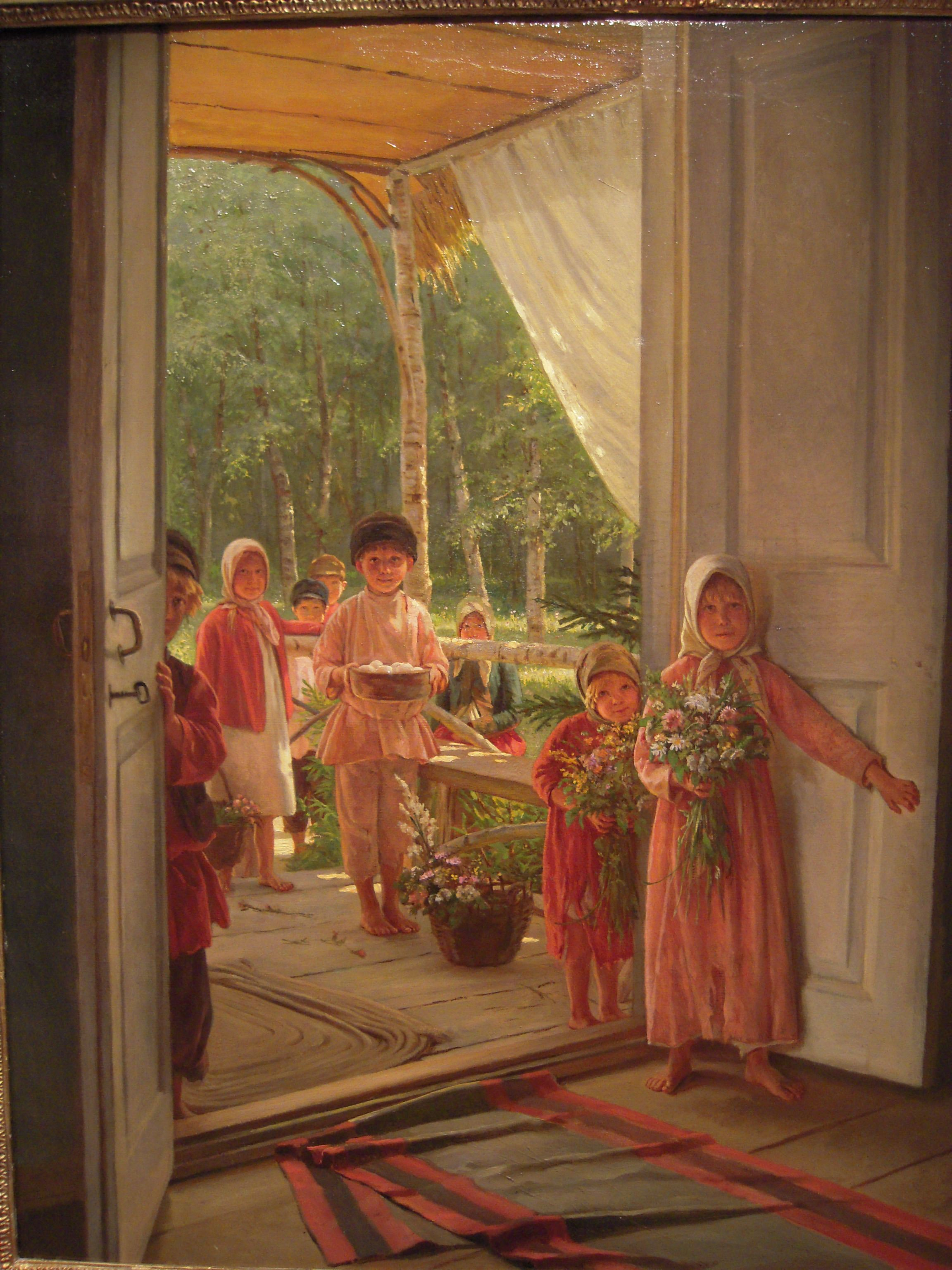 Summer With congratulations  ~ Nikolai Petrovich Bogdanov-Belsky ~ (Rússia, 1868-1945)