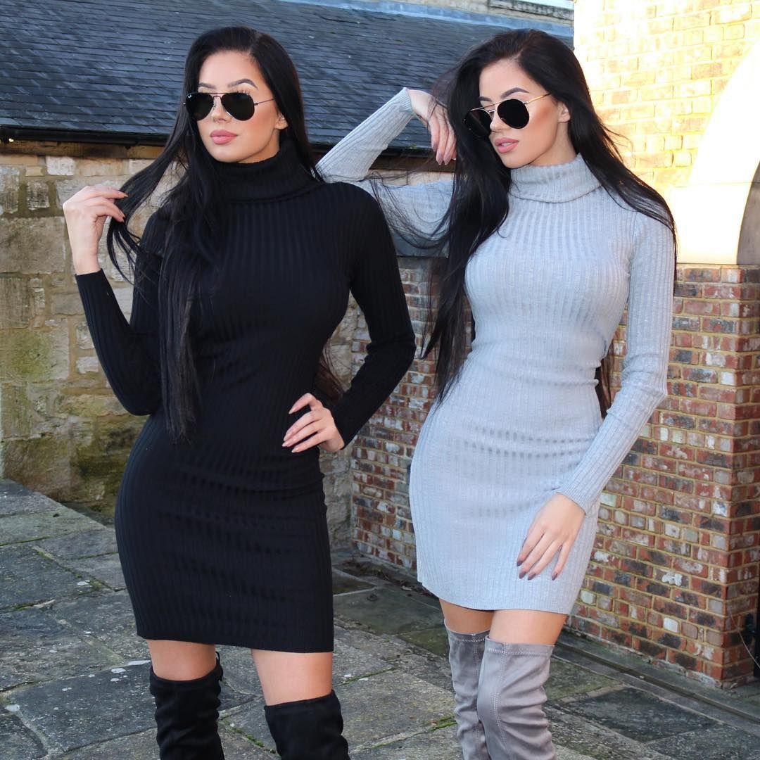 """Closeup  #twinning @klaudiabadura  #dresses @thekript #grey #black"""