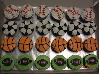 all buttercream icing sports ball cupcakes