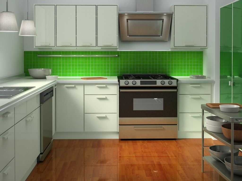 Green Kitchen Cabinets Modern Kitchen In Green Color Inspirations  Captivating Green