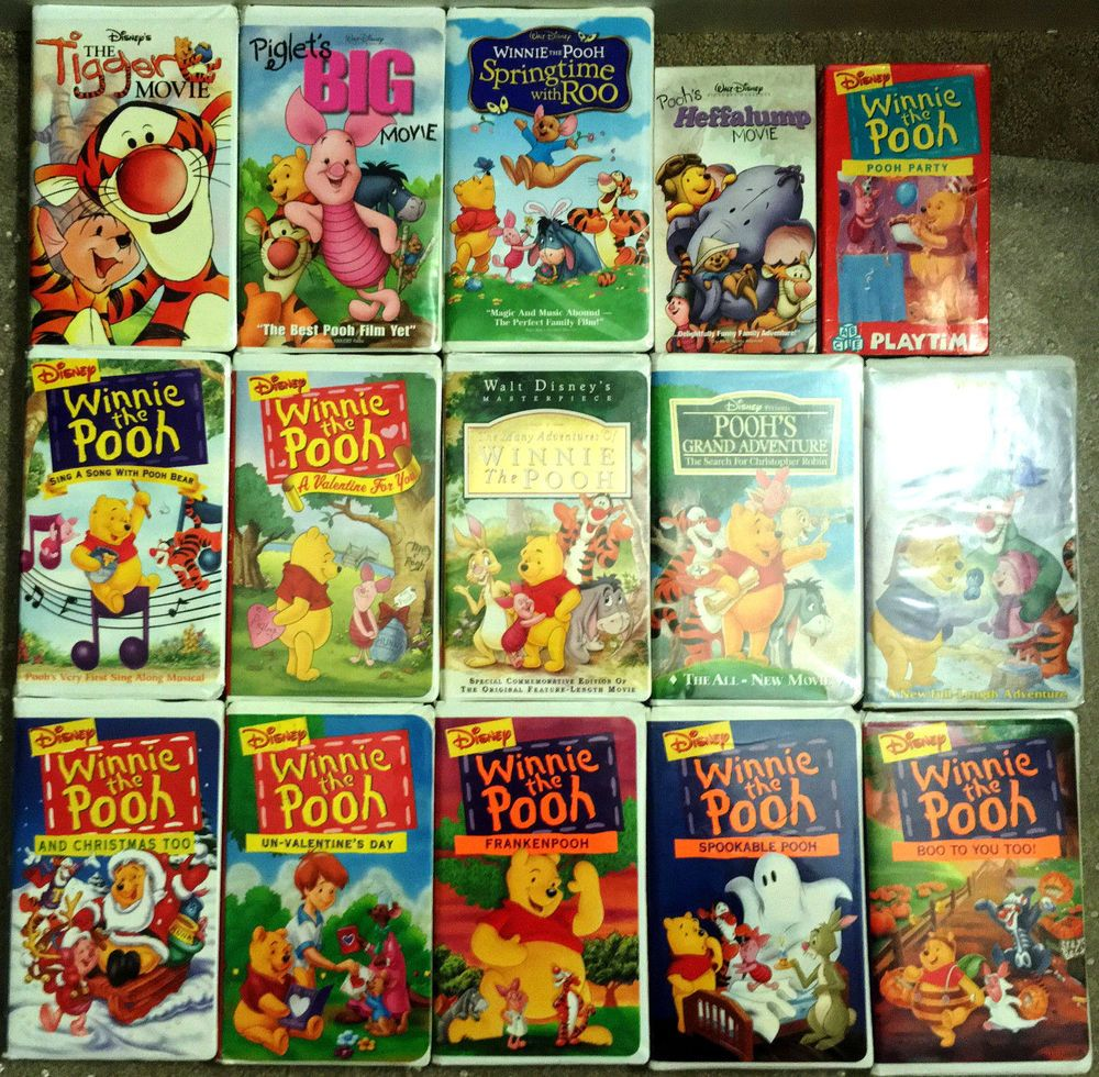 Disney's Winnie The Pooh VHS Lot Of 15 Movies & Specials