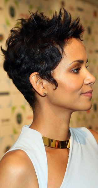 Halle Berry Short Hairstyles short messy spiked pixie cut halle berry short hairstyle 22 Easy Short Hairstyles For African American Women
