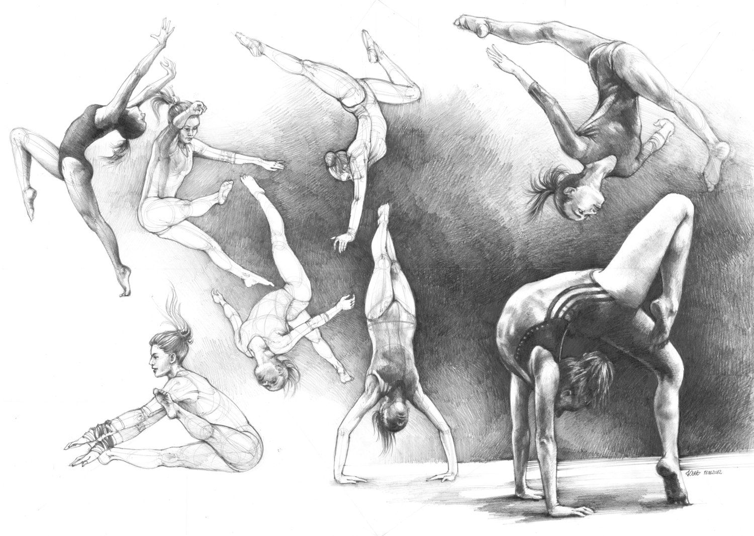 Very realistic figural drawing of women gymnastics by katarzyna kmiecik pencil drawing of complicated human figures in motion