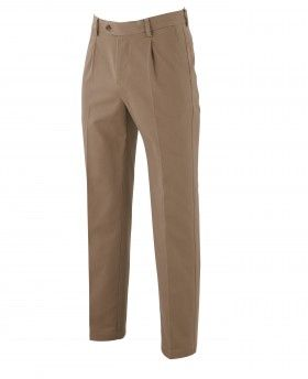 Tan Non-Iron Pleat Front Classic Fit Chinos