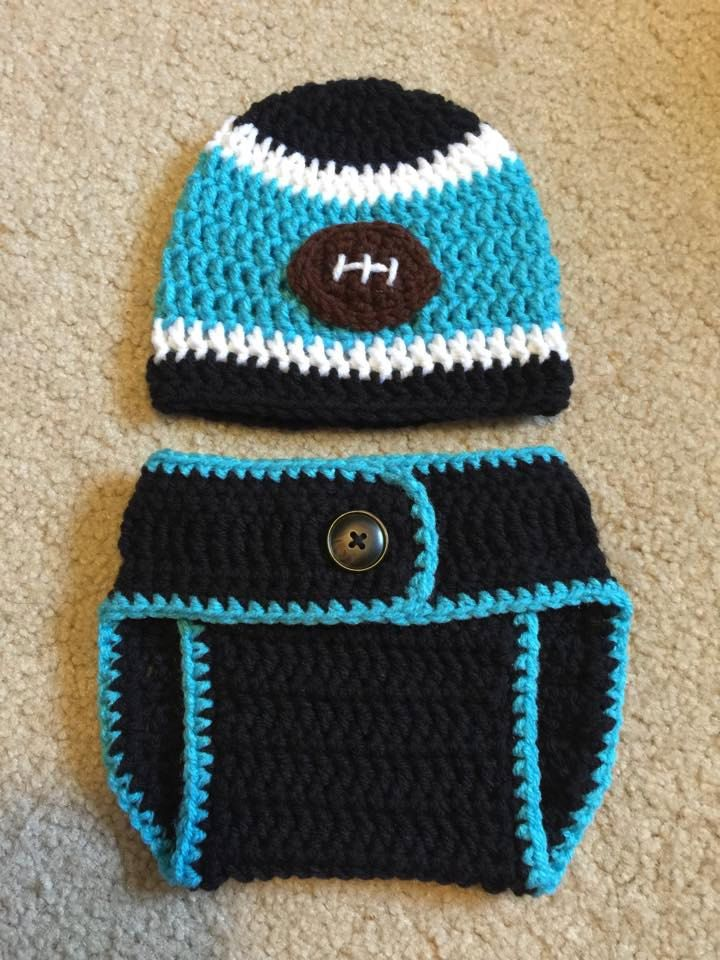 f5bb5c83 Crochet Baby Carolina Panthers Diaper Cover Set/Baby Football ...