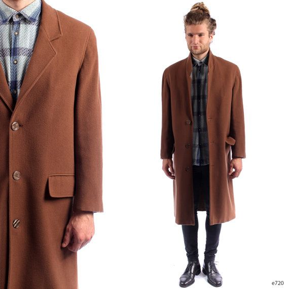 Mens CASHMERE Coat . Vintage 90s Brown Wool Winter Topcoat Retro ...