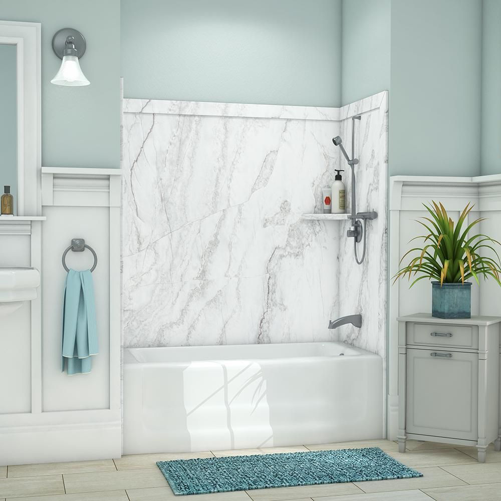 Flexstone Elite 32 In X 60 In X 60 In 9 Piece Easy Up Adhesive Tub Surround In Calypso Tsk60326031cp In 2020 Tub Surround Bathtub Surround Tile Tub Surround