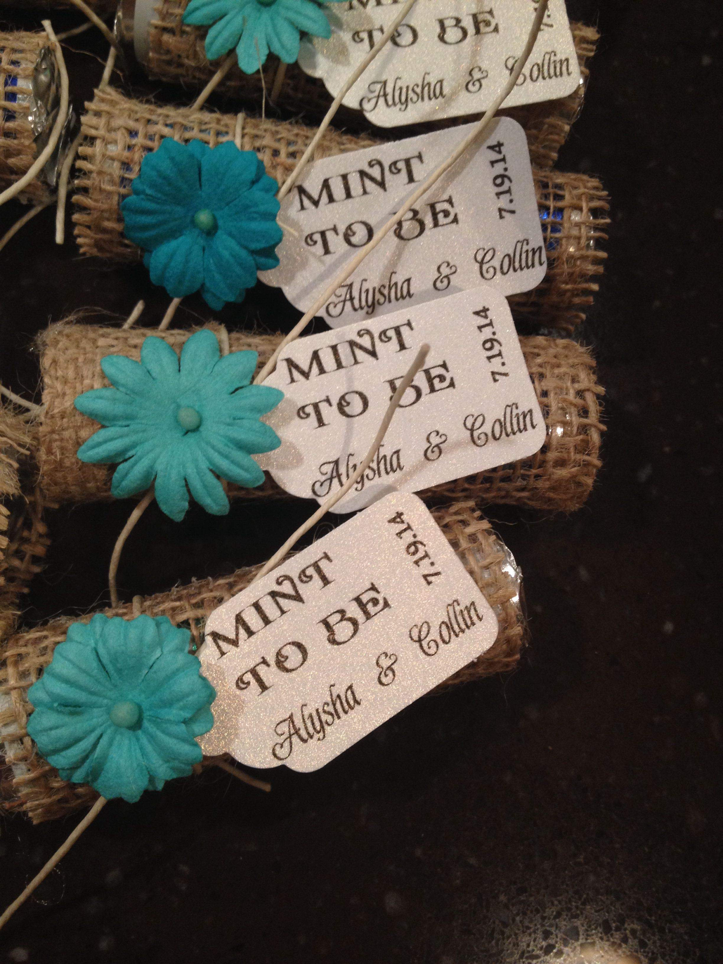 DIY Wedding Favors Breathsavers wrapped in burlap We used card