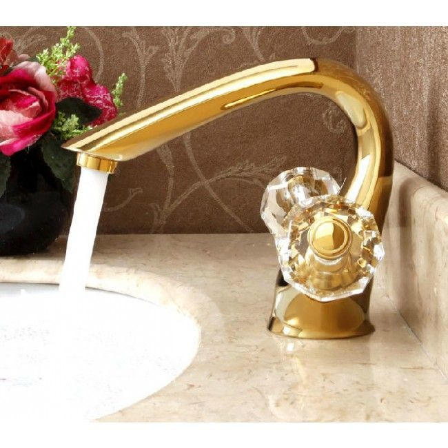Juno La Rochelle Dual Crystal Handle Deck Mount Gold Bathroom