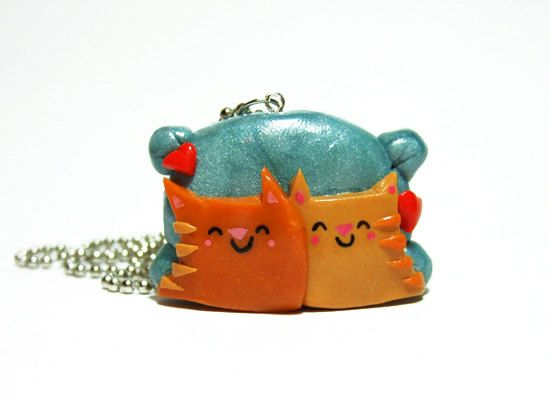 Cat Lover Necklace - Snuggling Kitties  - READY TO SHIP - by The Happy Acorn on Etsy, $45.00