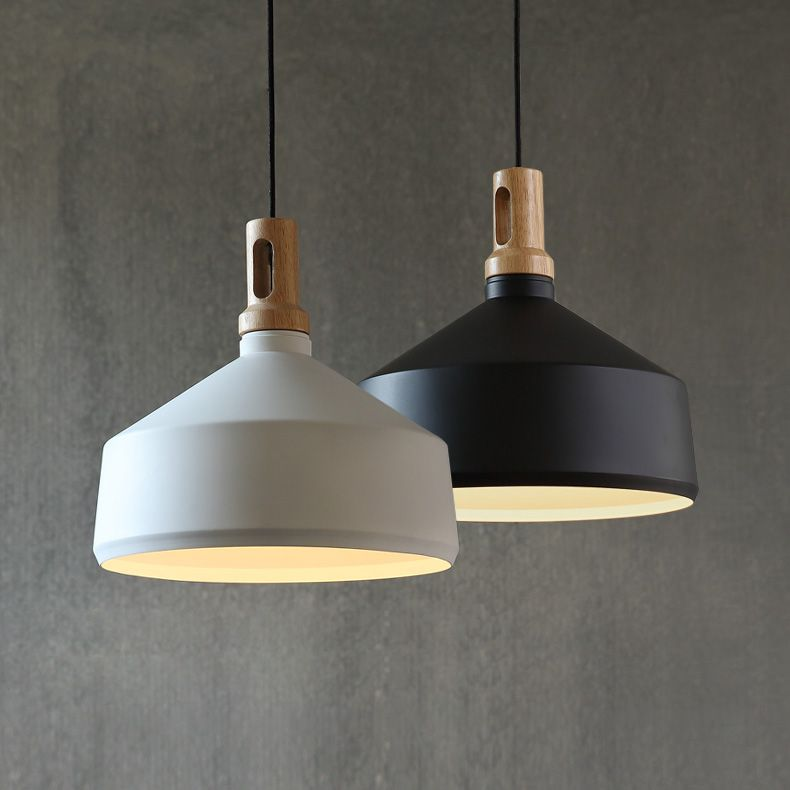 New Arrival Loft Pendant Lights Black White D35cm Style Wood Iron Suspension Edison Lamp Art Deco Drop Light In From