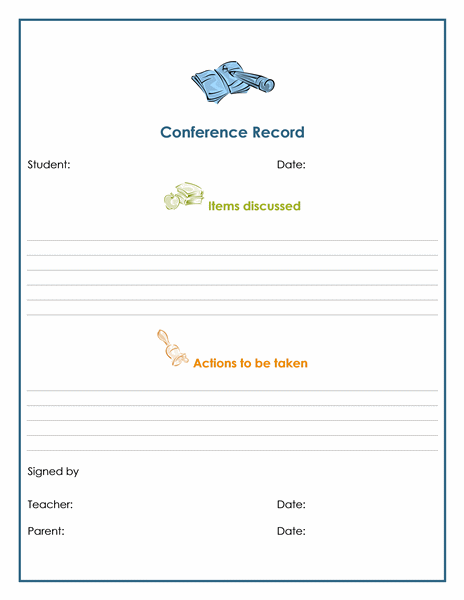 TeacherParent Conference Record  Templates  Forms For Greengate
