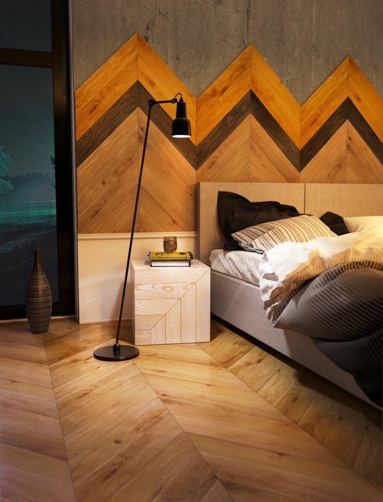 schlafzimmer musterverlauf holz kopfbrett wandgestaltung