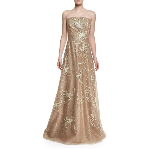 Rene Ruiz Strapless Embroidered Gown ($1,780) ❤ liked on Polyvore ...