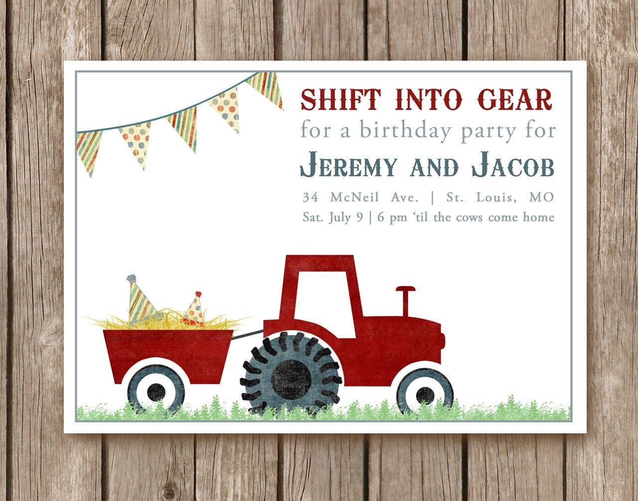 Tractor Birthday Party Invitation DIGITAL FILE - perfect for any ...