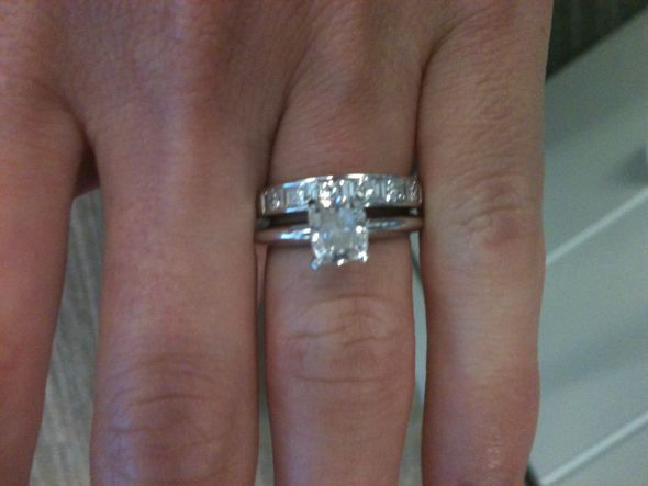 Great  Carat Engagement Ring On Finger Photo
