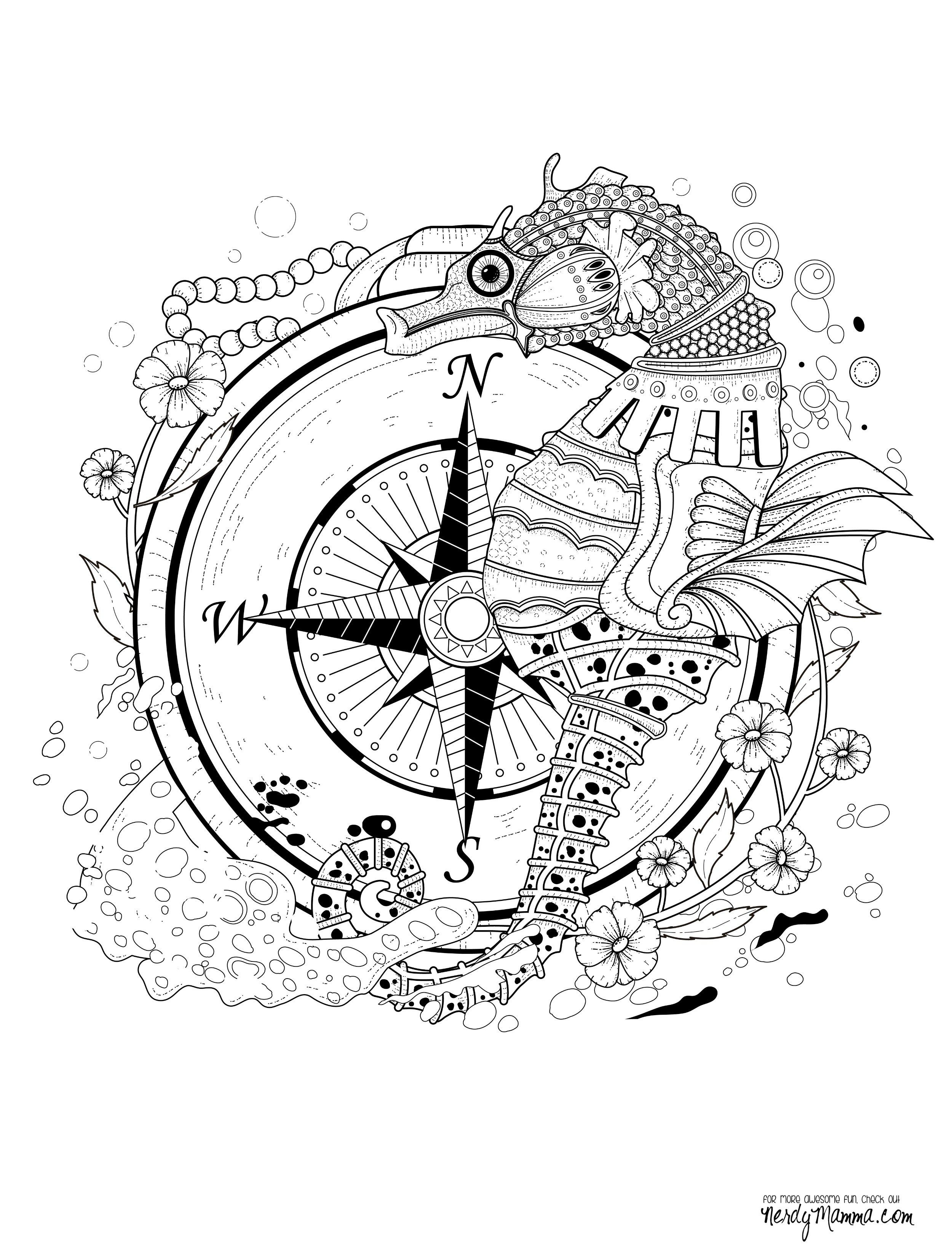 11 free printable coloring pages anti stress seahorses