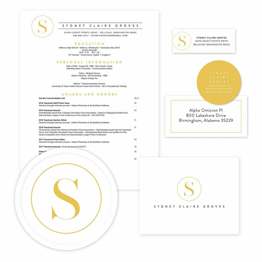 Simply Modern Initial Sorority Packet // Our Recruitment Information  Packets Include Designs For Your Resume