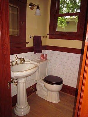 1912 Craftsman Half Bath After Restoration Remodeled