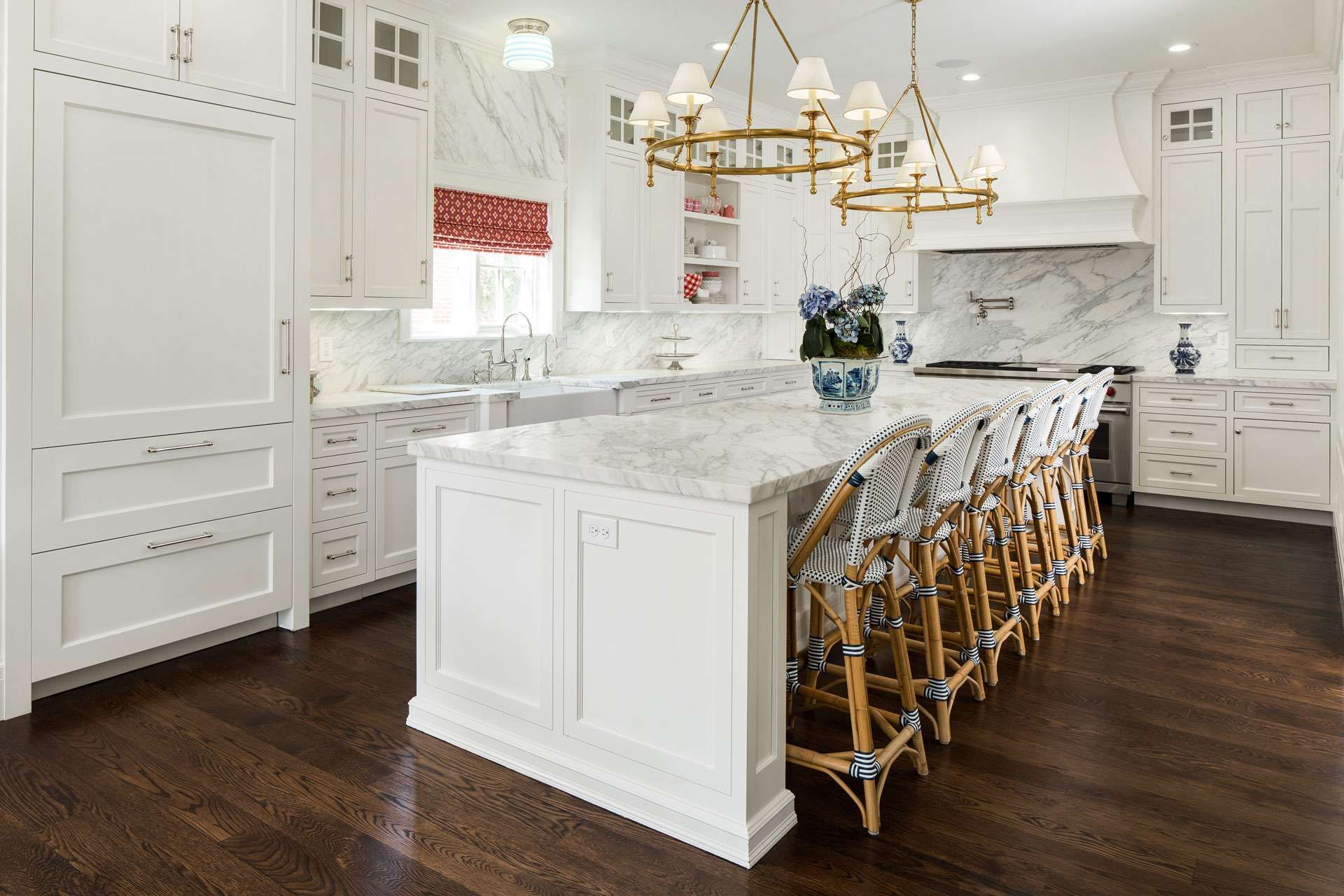 White Kitchen with Brass Chandeliers over island | Fox Group ...
