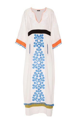 This **Chantik** embroidered colorblock caftan features a split v-neck with…