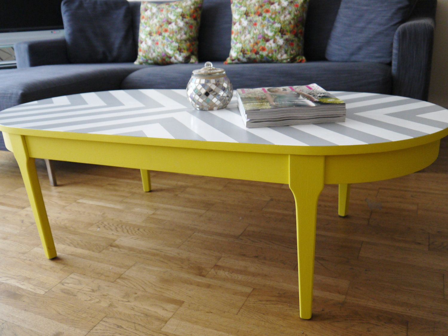 chevron painted furniture. Bespoke Hand Painted Upcycled Geometric Chevron Oval Wood Coffee Table Furniture