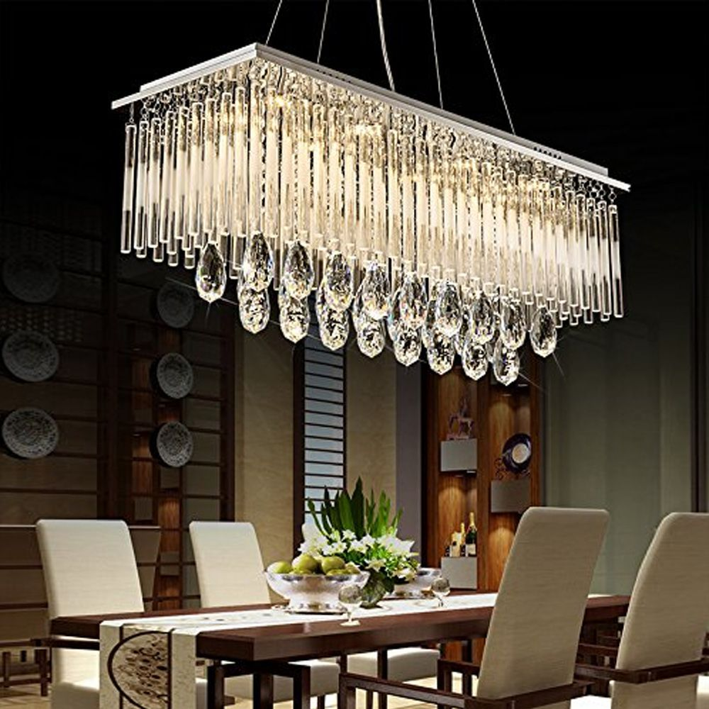 Rectangular Crystal Chandelier With Frosted Crystal Rods Pendant