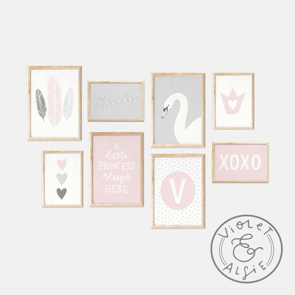 Princess Room Decor, Girls Room Prints, Pink and Grey Nursery Decor, Gallery Wall Unframed Print Set images