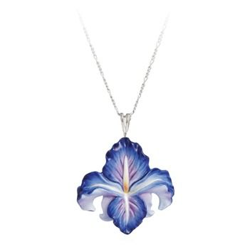 Franz Collection Iris Flower Necklace In Blue Iris Jewelry Brass Pendant Necklace Iris Flowers