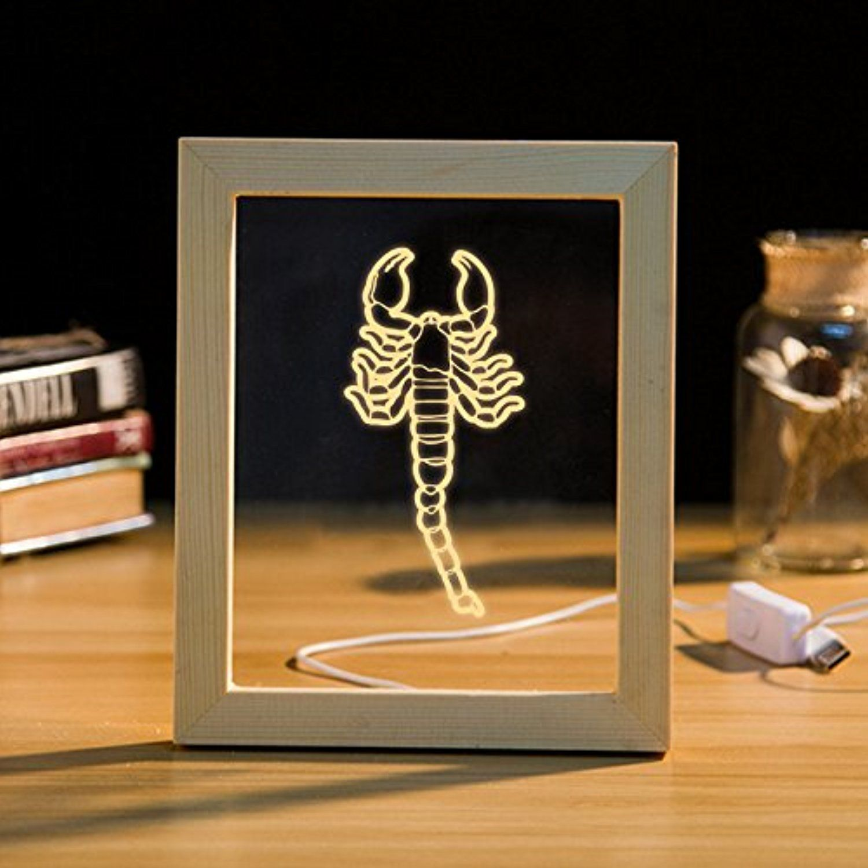 Line A Scorpion Handmade 3D Photo Frame Led Night Light Wood Table Prepossessing Lamp Bedroom Design Ideas