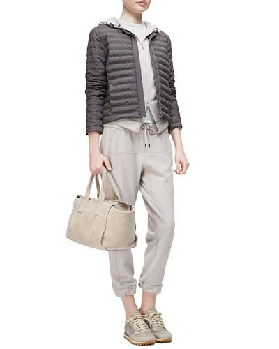-5VMB Brunello Cucinelli Quilted Tech Snap-Front Jacket, Cashmere Two-Way Zip-Front Hoodie, Round-Neck Jersey Tank Top & Cashmere Drawstring Jogger Pants