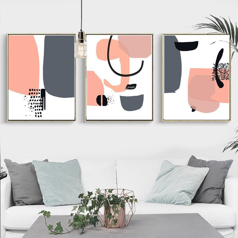 Scandinavian Print Set Of 3 Wall Art Abstract Geometric Pink And Gray Art Digital Prints Scandi Poster Abstra Scandinavian Print Grey Art Canvas Art Wall Decor