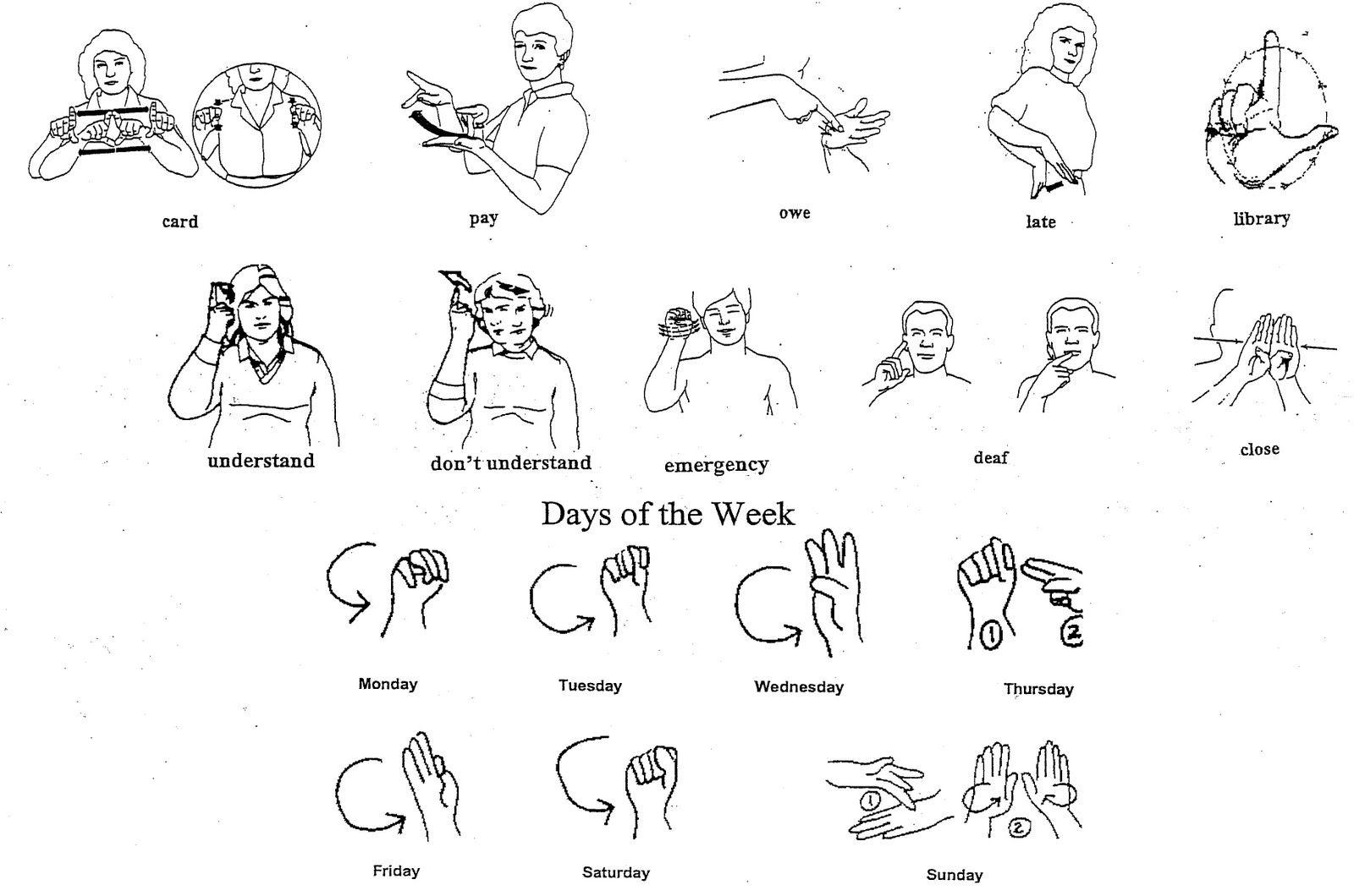 Asl Sign Language Words Printable